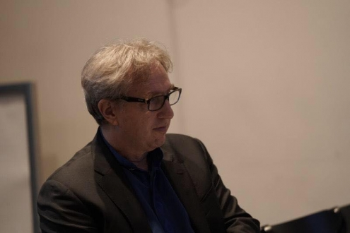 Composer Rick Baitz at the rehearsal for the INTO LIGHT release concert.